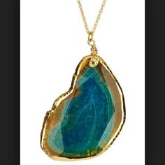 """🎉 PM Editor Pick 🎉 Meghan Fabulous Necklace Meghan Fabulous Peyote Pendant Necklace. Gold plated steel natural stone pendant necklace, lobster clasp, approx 30"""" chain length. Pendant is approx 2.25"""" L and 2"""""""" W. Looks super cute with a simple tank or sweater ! meghan fabulous Jewelry Necklaces"""