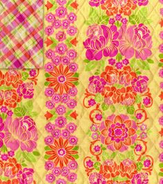Double Faced Quilt Fabric- Floral Stripe/Plaid Yellow, Pink & Orange