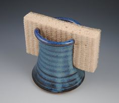 Sponge Holder - Handmade Stoneware in Denim Blue