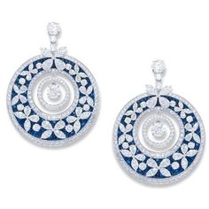 Graff White gold and white 22.82-carat multi-shape diamond butterfly motif earrings set with round sapphire concave backing.