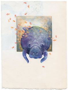 94cfe88fa56b Hand Painted Manatee Illustration - Original Collage Painting - Acrylic on  Paper - Art - Handmade - Unframed - Sea Cow - Dugong