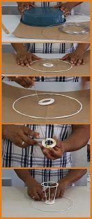 JL Dicas E Tutoriais: Como Fazer Cúpula Para Abajur Rope Basket, Lamp Shades, Clothes Hanger, Lanterns, Diy, Lights, Paper Mache, Biscuit, Ideas