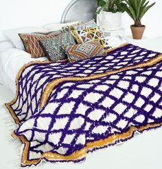 Moroccan style Wedding blanket | Purple and Yellow Handira
