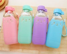 Lemon Glass Mini Drinking Water Bottles with Lid Cute Cartoon Milk Bottles Transparent Glass Cup Portable Sport Bottle For Kids