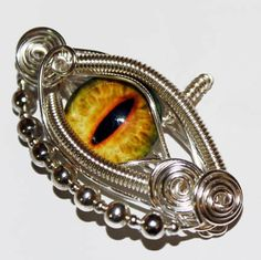 Wire Wrap Yellow Dragon Eye Pendant by Create-A-Pendant.deviantart.com