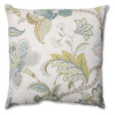 Pillow Perfect Finders Keepers Peacock Throw Pillow - An intricate botanical in blue, cream, and yellow make the Pillow Perfect Finders Keepers Peacock Throw Pillow a civilized way to decorate....