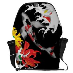 Shop Koi Tattoo: Traditional Japanese Design Messenger Bag created by sherill_ml. Personalize it with photos & text or purchase as is! Best Messenger, Cool Messenger Bags, Dragon Tattoo Back Piece, Dragon Sleeve Tattoos, Japanese Dragon Tattoos, Japanese Tattoo Art, Yakuza Tattoo, Bodysuit Tattoos, Japan Design