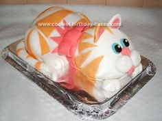 Homemade Kitty Cat Cake: I made this cake for my daughters 4th birthday. She is cat mad and wanted a cake that looked like Lulu her favourite soft toy cat. I was a bit nervous