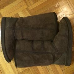 Chocolate brown Ugg boots- barely worn Fluffy, authentic, deep chocolate brown, great condition, Ugg Australia size W6, leather and sheepskin, classic tall height UGG Shoes Winter & Rain Boots