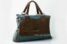 Genuine Cow Leather Canvas Bag / Messenger Bag / by leeloongstudio, $54.00