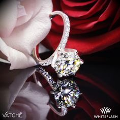 """From the Greek word meaning """"Grace and Kindess"""" the Vatche Charis Pave Diamond Engagement Ring gleams with Round Brilliant Diamond Melee along the shank."""