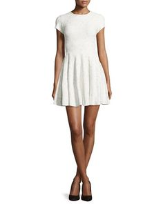 Soren Fit-and-Flare Dress, White by Parker at Neiman Marcus.