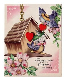 Baby's First Valentine vintage Valentine vintage valentine - 2 bluebirds Valentine Wishes, Valentine Images, Valentines Greetings, My Funny Valentine, Vintage Valentine Cards, Vintage Greeting Cards, Vintage Holiday, Valentine Day Cards, Valentine Crafts