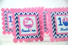 First Year Photo Clips, First Year Banner, Navy Blue and  Pink, Anchor Theme, Sailor Theme, Whale Theme, Boat Theme, Anchor theme on Etsy, $14.00