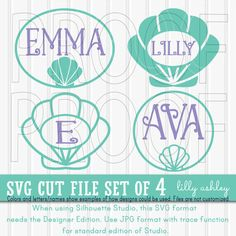 Shell SVG Cut File Set includes 4 cutting files by LillyAshley