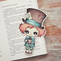 Alice in Wonderland The Mad Hatter bookmark by ribonitachocolat Chibi, Stickers Kawaii, Dibujos Cute, Kawaii Cute, Whimsical Art, Paper Dolls, Illustration, Art Drawings, Anime Art
