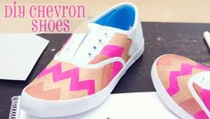 DIY Chevron shoes using bronze, pink and orange fabric paint - full post on indieberries.blogspot.com