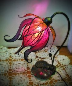 Enchanted Lily Lamp by littlewingfaerieart on Etsy