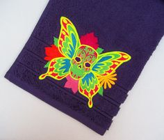 Egyptian cotton, machine embroidered, Mariposa de la Muerte, Dia de los Muertos, sugar skull, day of the dead, hand towel, 20inx 36in. by CushionRock on Etsy