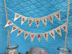 Happily Ever After Wedding Cake Topper bunting by TheGlitteredBarn, $23.00