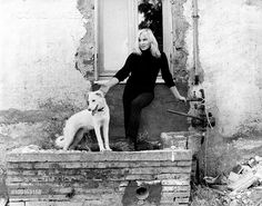 0 Swedish actress Ingrid Thulin posing with a dog. Rome, 1950s