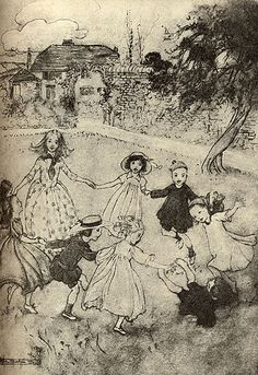 Ring a Ring o Roses, illustration by Arthur Rackham. Play has a social function. It develops skills linked to cooperation and conflict-solving. The playground is a relatively safe space for children to practice these. Arthur Rackham, Children's Book Illustration, Book Illustrations, Fairytale Art, Book Art, Fairy Tales, Sketches, Drawings, Artwork