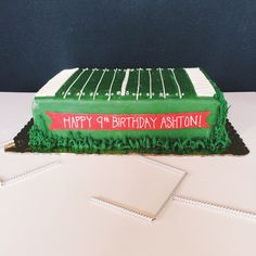 Football cake for sports themed party (goal posts added later)