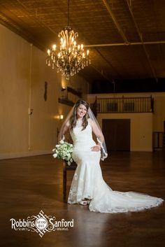 An elegant backdrop for bridal portraits inside Robbins Sanford.
