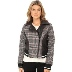 dollhouse Asymetric Zip Baseball Jacket w/ Striped Knit Trim (Norah... ($25) ❤ liked on Polyvore featuring outerwear, jackets, multi, zip jacket, dollhouse jacket, zipper jacket, plaid jacket and collar jacket