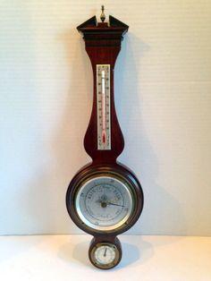 Vintage Midcentury Mahogany Airguide Banjo Wall Barometer Thermometer Hydrometer | eBay