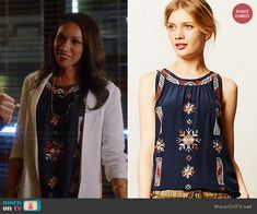 Iris's navy blue embroidered front top on The Flash.  Outfit Details: http://wornontv.net/40066/ #TheFlash