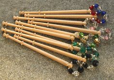 Ten Spangled Midland Lace Bobbins - Polished Maple