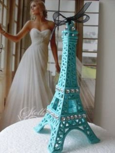 Turquoise Blue Eiffel Tower Cake Topper for all por BostonBackBay