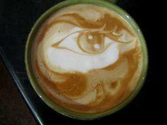 I'm keeping my eye on you - skill of coffee art