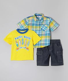 Look at this Peanut Buttons Yellow & Teal Surf Button-Up Set - Infant, Toddler & Boys on #zulily today!