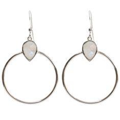 76473af1e3c174 Brooklyn Designs jewelry Baja Rainbow Moonstone Silver Hoop Earrings  Sterling Silver Hoops, Silver Hoop Earrings