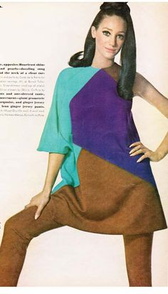 Jacques Tiffeau - Assymetric tunic and stem pants - Vogue 1967