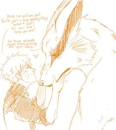 I think I'm dying. Naruto is so dense, but It's so cute how Kurama just puts up with him in this pic.