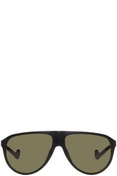 Nylon shield-style sunglasses in matte black. 'District sky' green shatterproof polycarbonate G15 lenses featuring 100% UV protection, anti-reflective coating, and oleophobic coating. Adjustable rubber nose pads. Titanium-core temples. Tonal rubber temple tips. Size: 60.14 140.