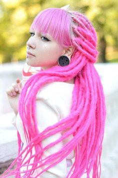long pink dreads with long fringe