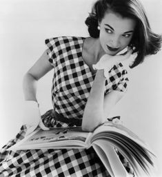 Helen Bunney, 1957. Love the dress & gloves
