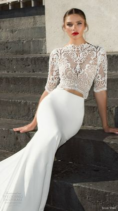 julie vino fall 2017 bridal half sleeves high neck heavily embellished bodice crop top elegant sophiscated sheath wedding dress v back chapel train zv -- Julie Vino Fall 2017 Wedding Dresses Bridal Dresses, Wedding Gowns, Bridesmaid Dresses, Two Piece Wedding Dress, Dresses Elegant, Sophisticated Bride, Dream Dress, Bridal Collection, Bridal Style