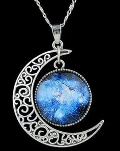 Gorgeous Blue Moon Necklace! Delicate Women's Faux Gem Blue Moon Round Pendant Silver Necklace