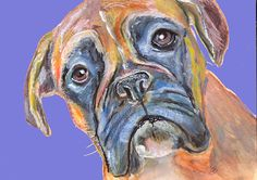 Boxer Dog print, boxer mom gift, giclee print, dog loss gift, boxer dog owner gift, colorful boxer dog wall art print by… #dogs #etsy #art