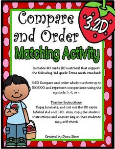 Includes 20 cards (10 matches) that support the following 3rd grade Texas math standard: 3.2D Compare and order whole numbers up to 100,000 and represent comparisons using the symbols >, <, or =. Teacher Instructions: Copy, laminate, and cut out the 20 cards labeled A-J and 1-10. Math Projects, 4th Grade Math, Number Sense, Math Teacher, Classroom Activities, Numbers, Texas, Symbols, 2d