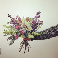 Lilac, Monks Hood, Astrantia and Eucalyptus