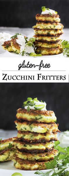 Shredded zucchini, salty feta, rice flour, and fresh parsley are featured in these vegetarian, gluten-free zucchini fritters.   justalittlebitofbacon.com