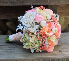 Vintage Pink & Ivory Wedding Bouquet with Roses and by justanns