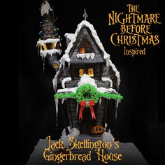 gingerbread house template We've updated our truly epic Nightmore Before Christmas inspired Jack Skellington gingerbread house for 2019 to now include the full tutorial, reci Halloween Gingerbread House, Gingerbread House Template, Cool Gingerbread Houses, Nightmare Before Christmas Halloween, Happy Halloween, Halloween Prop, Halloween Witches, Halloween Treats, Halloween Drinks