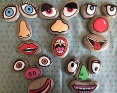 Ähnliche Artikel wie Funny faces story stones auf Etsy A set of funny face story stones hand painted on beach pebbles. The set includes 20 eyes, noses and mouths to create 4 sets of funny faces. Pebble Painting, Pebble Art, Stone Painting, Rock Painting, Diy Painting, Story Stones, Kids Crafts, Craft Projects, Garden Projects